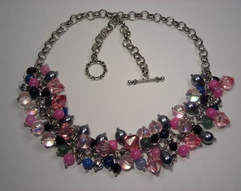 Pink Fiesta Bead Dangle Necklace