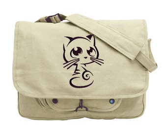Curiosity Kitty Embroidered Canvas Messenger Bag