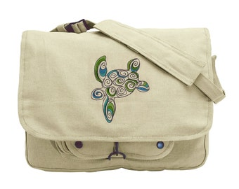 Doodle Sea Turtle Embroidered Canvas Messenger Bag