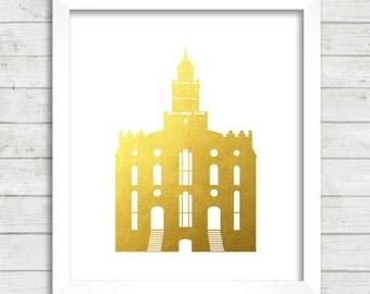 8x10 INSTANT DOWNLOAD - St George Utah LDS Temple - Gold Foil - Art Print - Home Decor