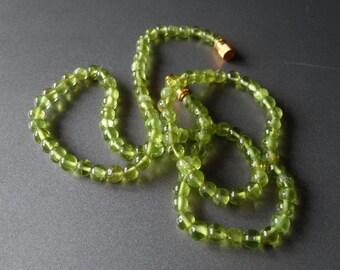 "18"" Long luminious natural Peridot necklace. Burma origin. no enhancement."