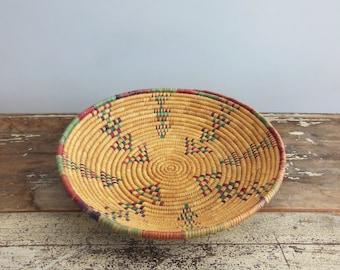 Large Vintage Native Woven Coil Basket/Serving Tray