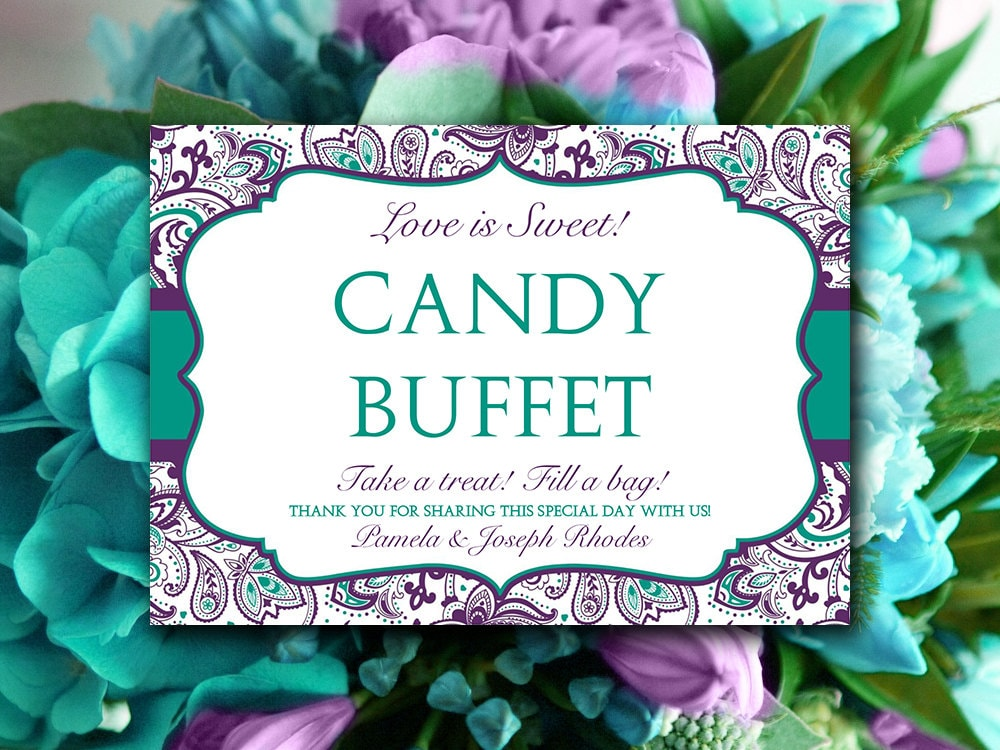 Fold Over Candy Buffet Wedding Template Teal Green Eggplant