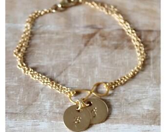 Infinity charm barcelet, gold infinity charm bracelet, one, two, three discs, personalized gold bracelet, infinity jewelry,