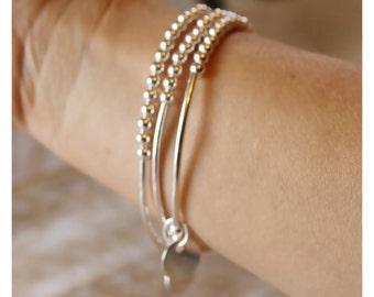 Sterling Silver bracelet, silver tube bracelet, silver beads,personalized bracelet, stackable silver bracelet, set of three bracelets LN15