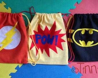 super hero bags, canvas bags, halloween treat bag, batman bag,