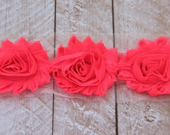 1 Yard Shabby Chiffon Flower Trim in Neon Pink - Flower Trim for Headbands and DIY supplies