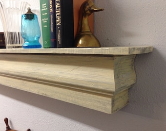 Floating Mantle Shelf, Shabby Chic Floating Shelf, Fireplace Mantle, Distressed Floating Shelf, French Country Floating Shelf