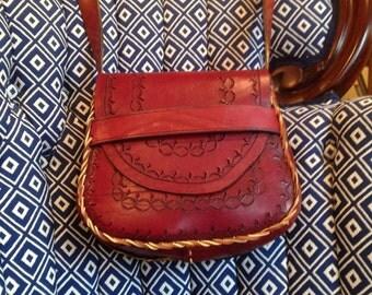 Handmade Cross body Medium British Tan Saddle bag - Tooled Leather