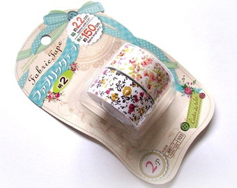 Set Of 2 Japanese Fabric Tapes - Country Flowers, Floral Fabric Tapes, Flowers And Leaves, Cotton Fabric Tapes, Washi Tapes