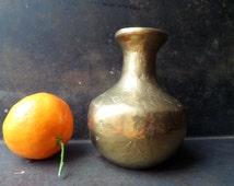 Bronze Flower Vase,Collectible Bronze Vase,Bronze Vintage Vase,Bronze Candle Holder,Mid Century Brass Vase,Mid Century Modern Vase