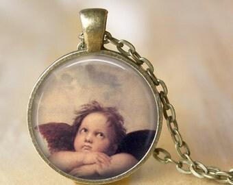 ANGEL Pendant Necklace Jewelry Raphael Painting Sistine Madonna Necklace Handmade Glass Pendant Religious Spiritual Jewerly