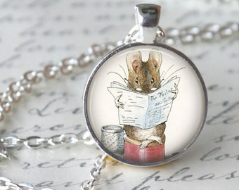 BEATRIX POTTER Necklace Pendant  Book - Squirrel Nutkin -Art Necklace Handmade Glass Pendant Storybook fantasy Jewelry necklace