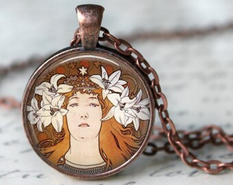 Alphonse Mucha Pendant Necklace Art Nouveau Glass Pendant Handmade Mucha Jewerly Mucha Jewellery