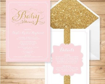 5x7 Sparkly Pink and Gold Glam Glitter Baby Girl Shower Invitation