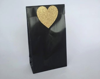 50 X Large Glitter Gold Love Heart Stickers - Wedding Bomboniere Labels, Favour Stickers, Lolly Bag Seals