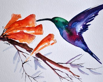 ORIGINAL Watercolor Bird painting, Purple Green Hummingbird 6x8 inch