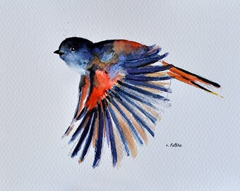 ORIGINAL Watercolor Bird Painting, Flying Colorful Sparrow 6x8 Inch