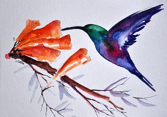 Pintura ORIGINAL de acuarela Ave, Colibrí verde púrpura 6 x 8 pulgadas