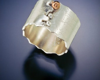 Nordic Birch Ring with Gold Dewdrop