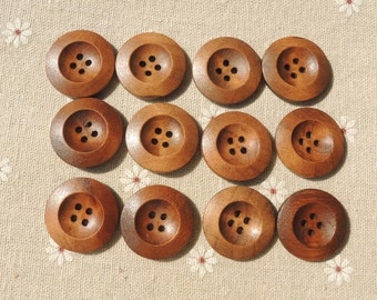 20Pcs  25mm Brown Coffee  Wood button 4 holes( W921)