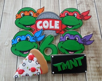 Teenage Mutant Ninja Turtle Cookies, TMNT Cookies, Boys Birthday, Sugar Cookies, Turtle Cookies, Birthday Cookies