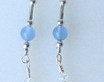 Dragonfly Earrings Blue Chalcedony Crystal AB Swarovski