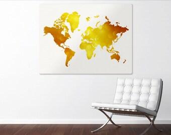 World Map Canvas, Gold Faux Foil World Map, Large Canvas Print, Modern Home Decor, World Map Art, Travel Decor, World Map Silhouette, 24x36