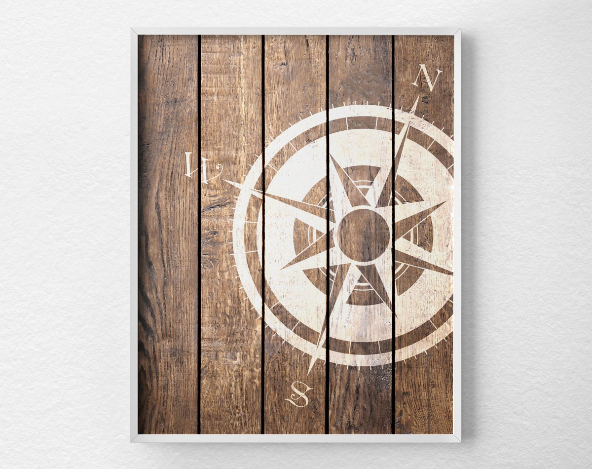 nautical compass compass print nautical decor rustic. Black Bedroom Furniture Sets. Home Design Ideas