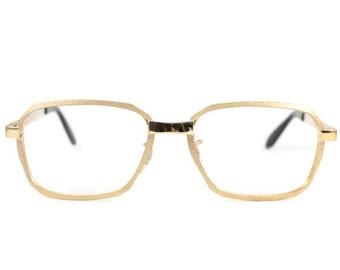 Vintage 70s Glasses | Gold Textured Aviator Eyeglasses | Geometric Eyeglass Frame | NOS Deadstock 1970s Glasses | - Hipster Satin Yellow