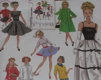 "Simplicity 5785 Pattern Fashion Doll Clothes Evening Casual Clothes 11 1/2"" Dolls Uncut"