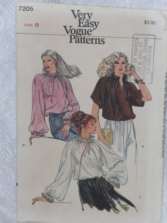 Vogue Peasant Blouse Pattern 108