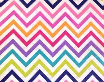 One Half Yard of Fabric Material - Rainbow Chevron
