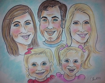 custom color caricature 14x18  of 5 people  with just heads caricature drawing, group,family caricature,portrait,,Christmas gift,gift,birthd