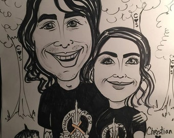 Caricature Custom Black&White 2 person 11x14  ,Cartoon drawing,Couples portrait,drawing,funny picture,gift drawing,faces,portrait