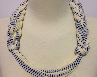 Go Iowa Hawkeye White with Black and Yellow Stripes T-Shirt Yarn Necklace Style #1 Adult