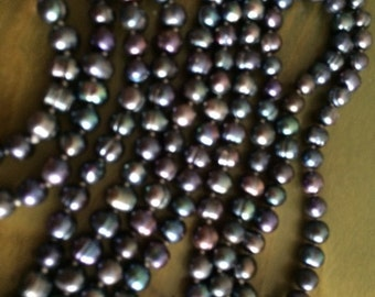 Black Cultured Pearl Long Necklace