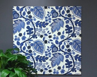 Large Blue and White Flower Art, Contemporary Stunning Classic Wall Art, Fabric Art to hang on Bedroom Wall, Hallway, Living Room
