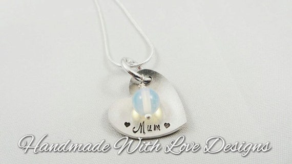 Opalite heart Hand stamped Necklace