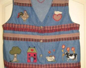Vintage 90's Bobby Brooks Denim Farmer's Vest M