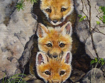 ORIGINAL ACRYLIC PAINTING ;fox kits, nature, original art, 8 x 10 inches, canvas board, wildlife, wilderness, miniature art, Canadian art