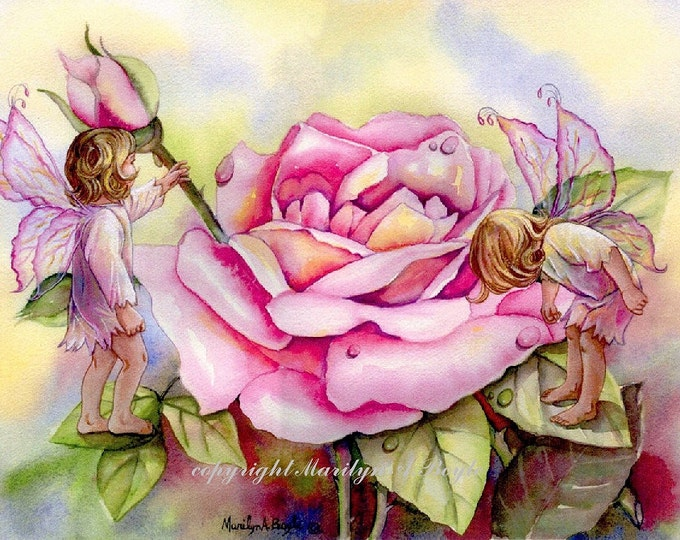 PRINT - FANTASY- FAIRIES; fairy children, roses, flower, garden, nature, dewdrops, washing up, pink color, children's room