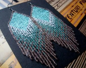 Seafoam Siren...Beaded Fringe Earrings