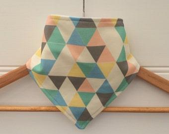 Organic Baby Bandana Bib with Pastel Geometric Pattern