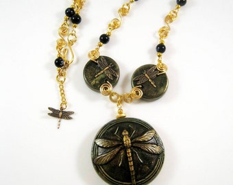 Dragonfly necklace- create a plaster mould for ceramic beads and wire work