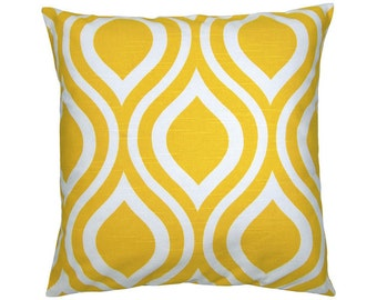 Cushion cover 50 x 50 cm retro pattern with yellow and white linen look EMILY