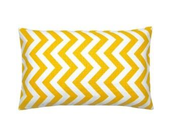 CHEVRON pillow case yellow white zigzag stripe linen optics 30 x 50 cm