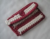 Purse small Handcrocheted Chic accessory For money, cosmetics, pencils Fine yarn Two colors Decorative button Lining inside Magnetic stud