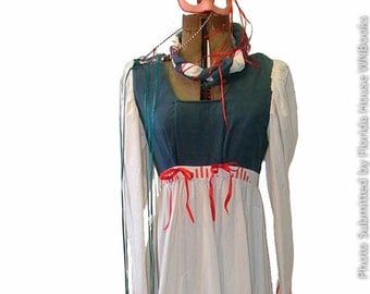 Renaissance Dress Costume - 8-10 Blue White and Red