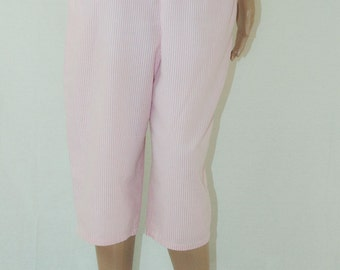 Vintage Pink and White Striped Capri Pants